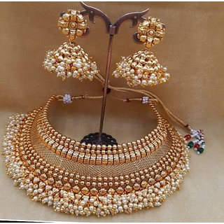 1afa29ebaf669 Neil Creation South Indian Traditional Gold Choker Necklace Set Jewellery  Sets Earrings for Women Girls