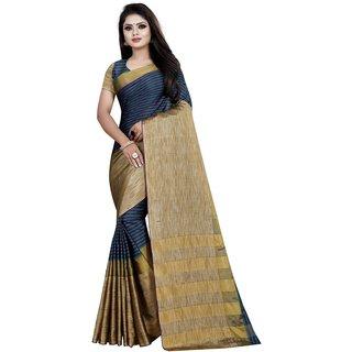 Meia Women's Cotton Silk Striped Saree (Deepika Purple)