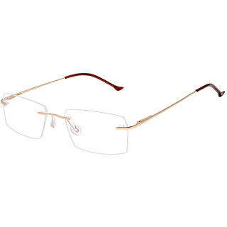 David Blake Golden Rectangular Rimless EyeFrame