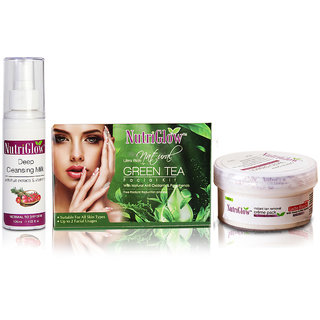 NutriGlow Green Tea Facial Kit55Gm + Deep Cleansing Milk120ML + Bleach Cream43Gm
