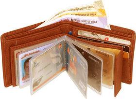 Eaglebuzz Tan Leatherite Bi-fold Wallet with 9 ATM Card Holder