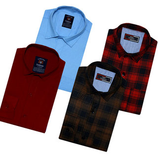Spain Style Solid+Check Shirts For Men Combo of 4