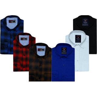 Spain Style Solid+Check Shirts For Men Combo of 6