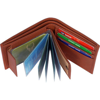 Pure Leather Stylish Wallet for men, Brown, (M-0021) (Synthetic leather/Rexine)