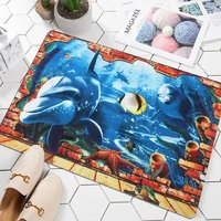 3D Digital Printing Bathroom Kitchen Carpets House Doormats for Living Room Anti-Slip  38x58 cm