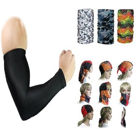 Evergreen Combo of Arm Sleeve Black ( 1 Pair ) and Bandana (Assorted color / Design) 1 Pcs.