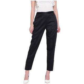 Rivi women regular fit black pintucks trouser pant
