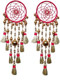 Car Hanging Dream catcher handmade  Red Golden Car Hanging Decor Accessories Amulet Evil Protector Good Luck Charm.