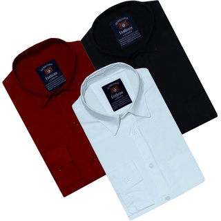 Combo of 3 Spain Style Multicolor Regular Collar Slim Fit Shirt For Men