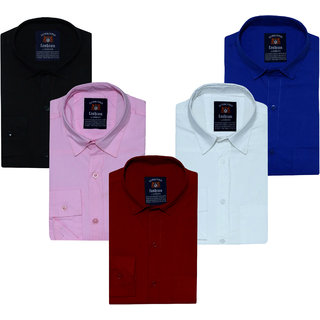 Spain Style Solid Shirts For Men Combo of 5