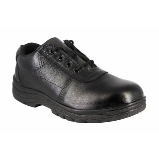 JK Port Men's Black Genuine Leather Safety Shoe