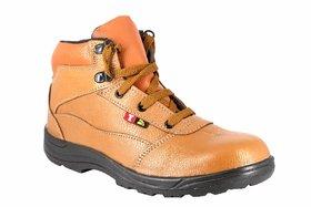 JK Port Men's Beige Genuine Leather Safety Shoe
