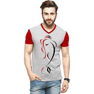 Stylatract Men's Grey Ganesha V-Neck T-Shirt