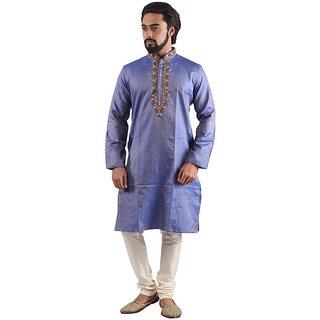 Pehanaava Fancy Cotton Embroidered Men's Kurta and Pyjama Set (Blue) M