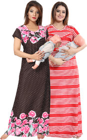 Be You Floral Serena Satin Women Maternity Gowns for Feeding - Red-Pink - Free Size - Pack of 2