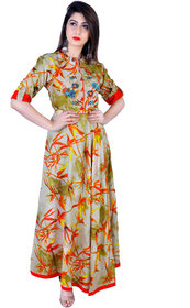 TAZANNA CREATIONSWomen Printed Gown Kurta(Multicolor)