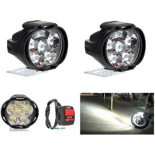 POCOMO  6 LED SHILAN Fog Light Waterproof Black Body Spot Beam Pod Work Lamp with Handlebar Switch for Motorcycle Jeep S
