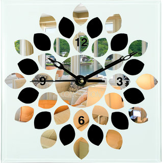 CONCEPT Analog Wall Clock for Home Fancy Back Painted Mirror Glass Wall Clock (30.4 cm X 30.4 cm, Fully Glass)