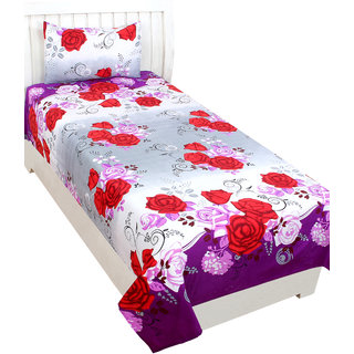 Trendz Home Furnishing 5D Purple & Red Flower Print Single Bedsheet With 1 Pillow Cover -Purple