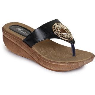 Picktoes Women Black Slip-On Wedges Heel