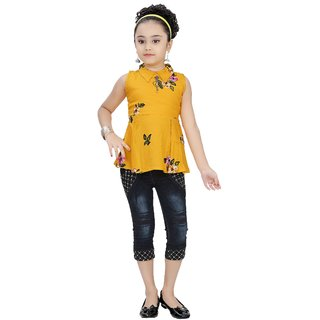 Meia for girls Party Wear Top and Denim Capri Set