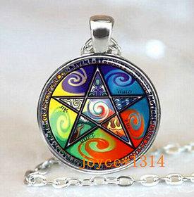 Pentagram Wiccan Cabochon Tibetan silver Glass Chain Pendant Necklace