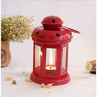 Satya Vipal Iron Red Colored Hanging Decorative T Light Holder/Lantern with T-Light Candle