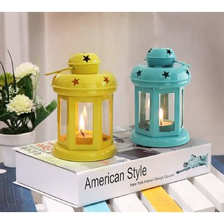 Satya Vipal Iron Yellow and Blue Colored Hanging Decorative T Light Holder/Lantern with T-Light