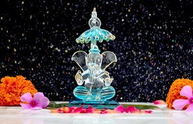Craftfry Ganesha Idol for Gift Glass Lord Ganesh Murti Idol Show Pieces for Home Decoraion, Temple, Car Decor, Gift Item