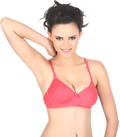Vermilion Red Cotton Plain Padded Bras