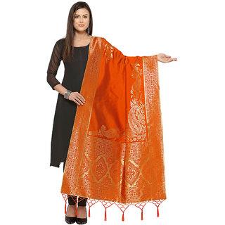 Swaron Orange Banarasi Jacquard Dupatta