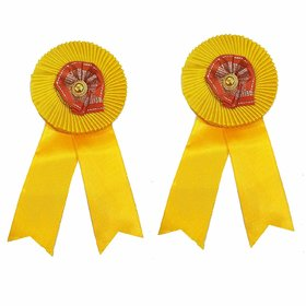 Salvus App SOLUTIONS Satin Yellow Ribbon Badges for Functions / Conference Badges /Brooch for Men Women
