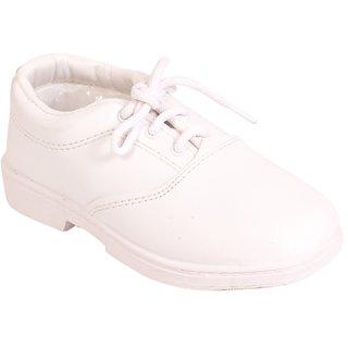 Trilokani White School Rockerz Shoes for Boys