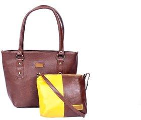 brown yellow handbag