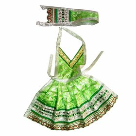 Beautifully Handmade New Green Color Davi Vastra- 8 Inches, Durga ji Vastra, Dress for Idol, Devi Durga MATA Dress