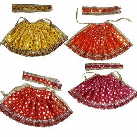 Salvus App SOLUTIONS Beautifully Handmade Devi Durga MATA Fabric Dress (Yellow, Red, Pink and Orange) -Set of 4