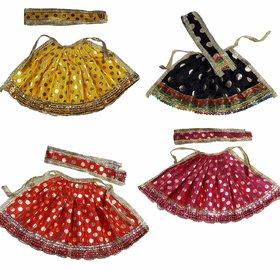 Beautifully Handmade Davi Vastra, Durga ji Vastra, Dress for Idol, Devi Durga MATA Dress, Set of 4 (Yellow, Red, Pink