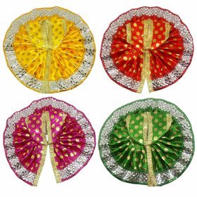 Salvus App Solutions Beautifully Handmade Red, Yellow, Orange  Green Color Dress for Laddu Gopal-Set of 4