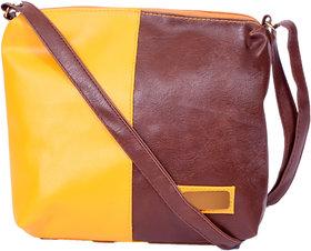 Malia Yellow  Brown Sling Bag