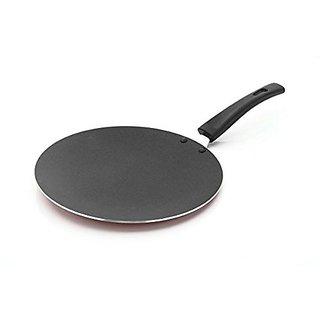 Classic Cookware 2.6mm Aluminium Non-Stick Concave Tawa 23 cm Red Color