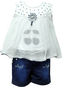 Meia for girls Denim Shorts and Top Set