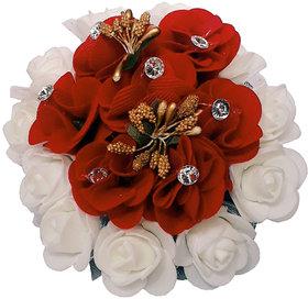 GadinFashion Gajra Hair Bun Decoration Full Bun Gajra For Women Red  White Pack Of 1