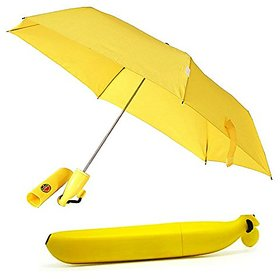 BISONS Folding Umbrella Portable Sun/Rain Umbrella for Outdoor in Banana Shape (Yellow)
