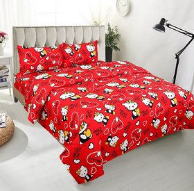 BSB Trendz 5D Kids Print Double Bedsheet With 2 Pillow Covers -Red