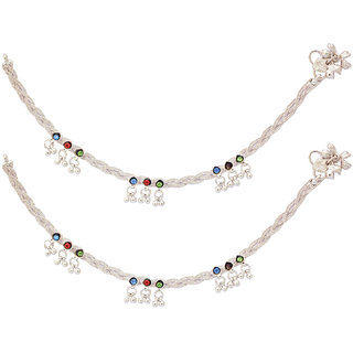 Rope Designed Silver Plated Anklet with Multicolor Stone  Ghungroo by Sparkling Jewellery