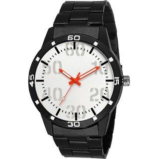 HRV White Dial Chronograph Printed Dial Black Steel Chain Watch