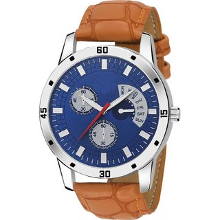 HRV Blue Dial CORNOGRPH LOOK AND LATEST Brown Belt FASHION Watch