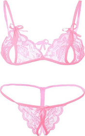 ARARA Lace Nightwear Lingerie Set Night Dress Pink Free Size