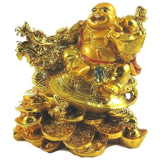 ReBuy feng shui laughing buddha with dragon tortoise on bed of wealth