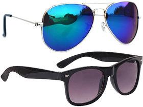 Combo Of Sunglasses With Blue Mirror Aviator And Black Wayfarer